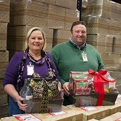 Gourmet Gift Baskets is a family-run company. Ryan works side by side with his mother Trudy Abood (pictured here) and his brother.