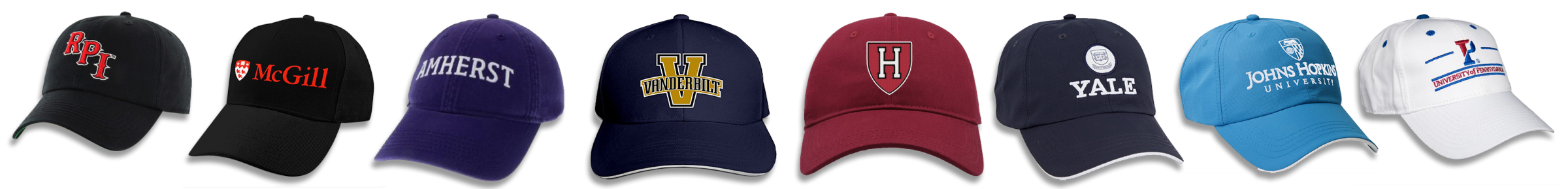 Hats from the colleges where our graduating class is heading.