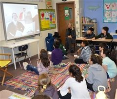 Fifth-graders engaged in a mock trial of the Boston Massacre thanks to the digital wonders of Skype.