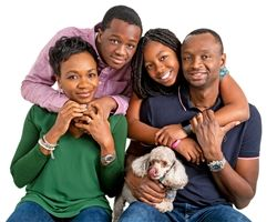 The Afolalu Family: Bayo, Abi, Timi and Tami.