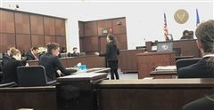 Senior Jacqueline Patel makes her opening statement in the National Mock Trial competition.