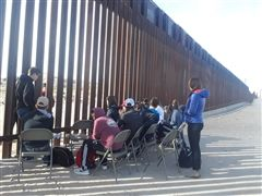 Students meeting with residents of Juarez, Mexico at the border.