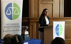 Michelle Rodrigues speaking at the Barry Sullivan Law Cup event in Vancouver. [Photo courtesy The Law Society of British Columbia]