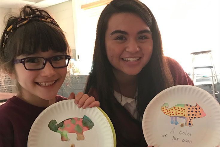 Severn Upper and Lower School students showcase their artwork from an Open Doors extension activity
