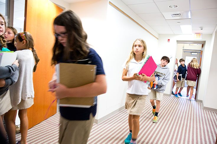 Severn Middle School sixth graders changing classes.