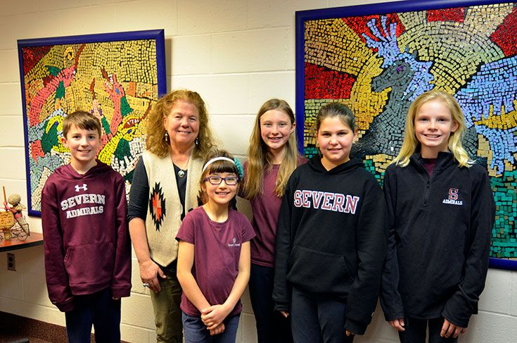 Author Karen Williams with Severn Battle of the Books students after meeting during lunch.