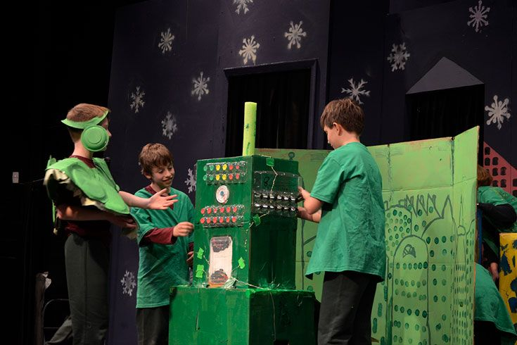 4th Grade Destination Imagination team shows off their clever set and costume design in rehearsal before the regional tournament.