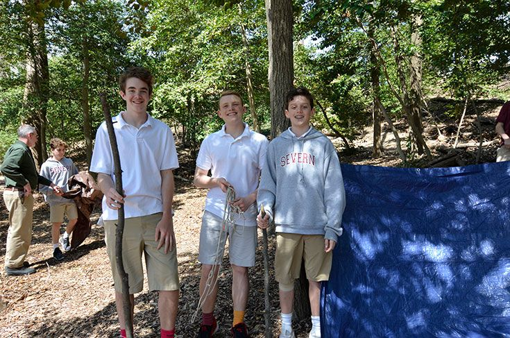 Severn middle schoolers learn outdoor survival skills in our Outdoor Education elective.