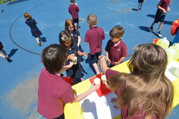 Severn Lower School Student Council holds a lemonade sale to benefit a local animal shelter.