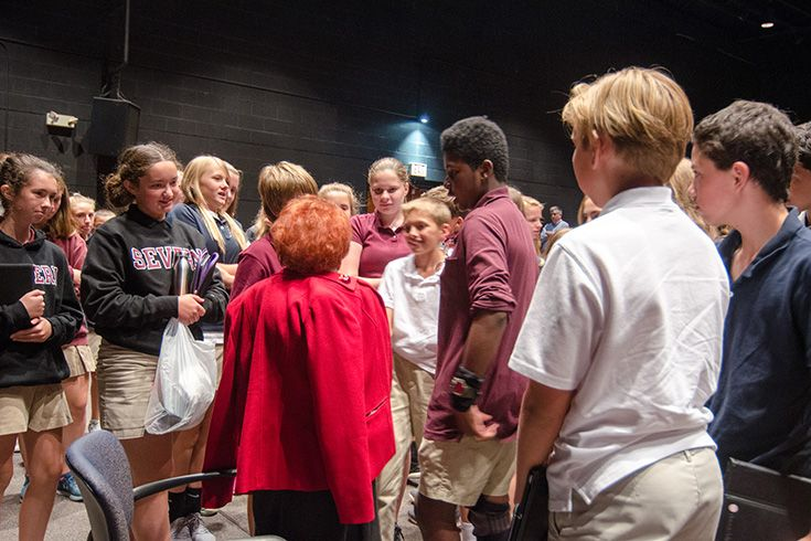 Holocaust survivor visits Severn School eighth-graders to share her story.