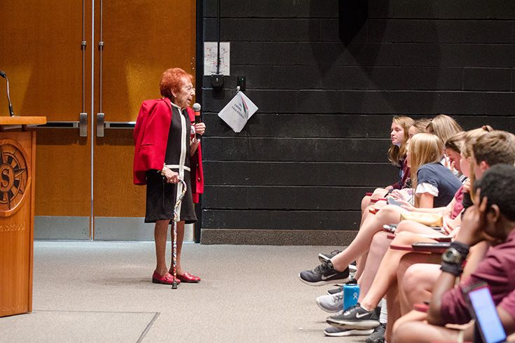 Holocaust survivor speaks to Severn middle school students about her experience during the Nazi occupation.