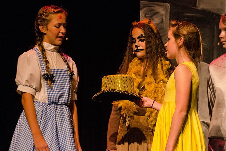 Middle school students dressed as Dorothy and the Cowardly Lion in a school play.