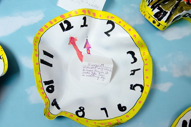 "Melting clock artwork."" width="