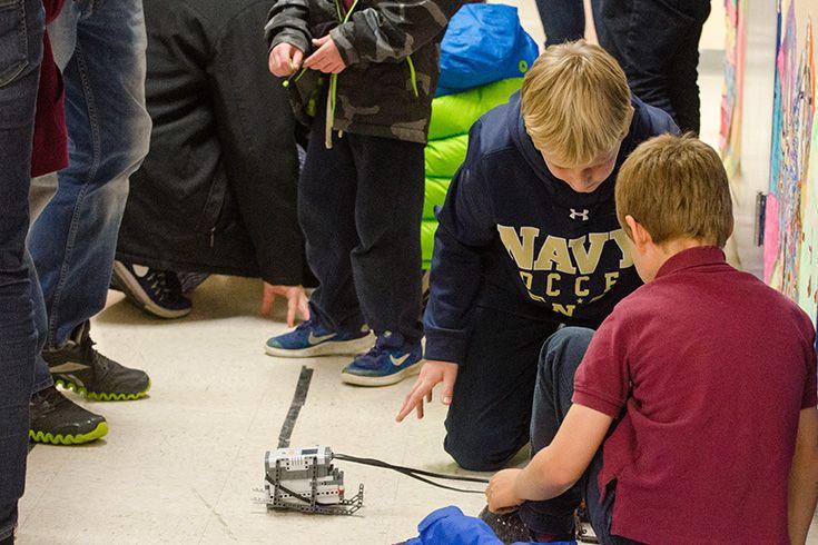 "Severn students demonstrate robotics."" width="