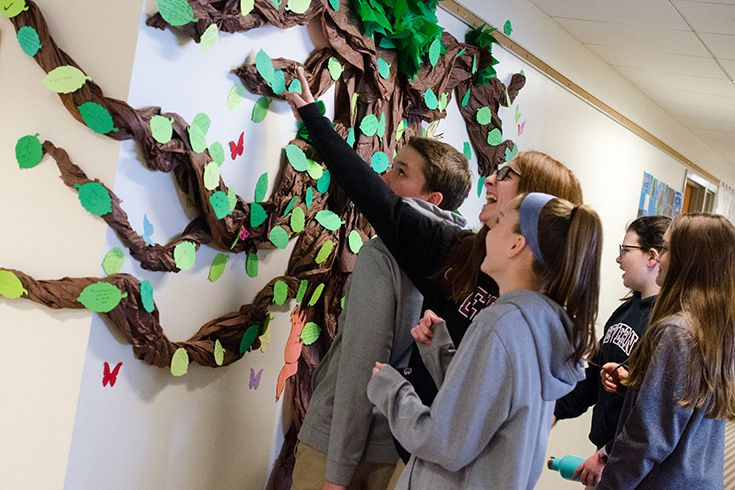 Severn School students place paper leaves on the giving tree