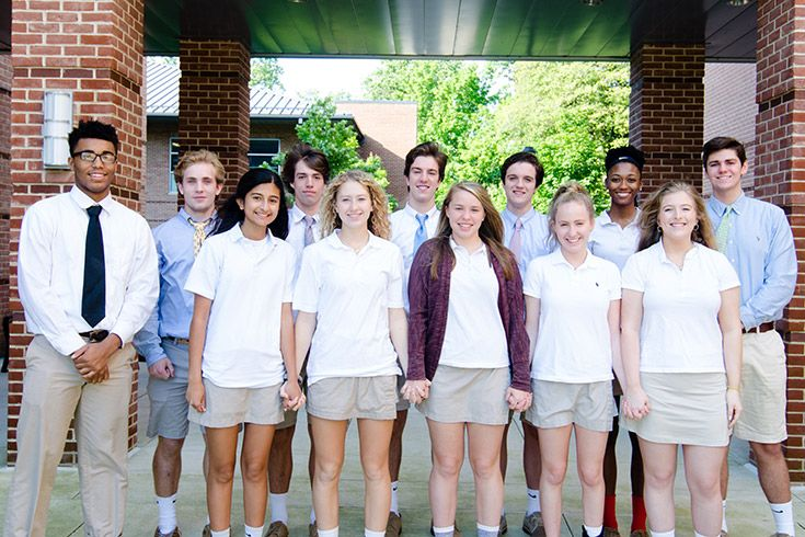 Severn's class of 2019 prefects post before their first official duty as Upper School leaders.