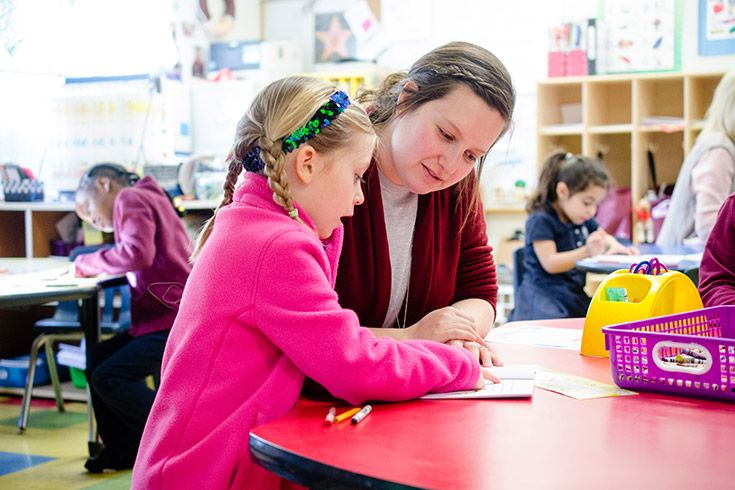 Severn School kindergarten student working with a teacher.