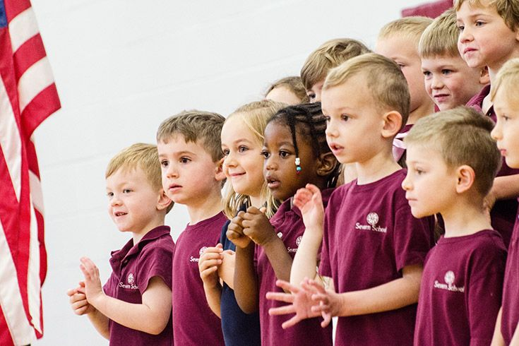 Severn School preschool students sing as a group.