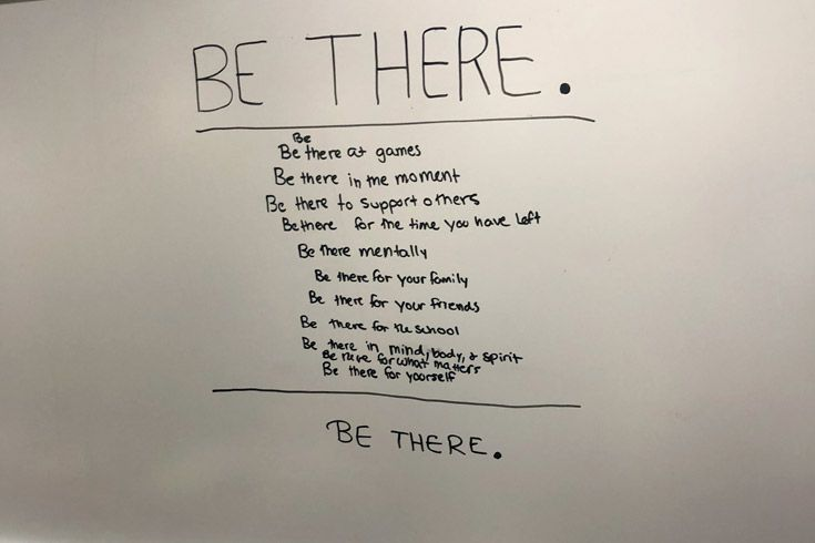 Writing on a white board.