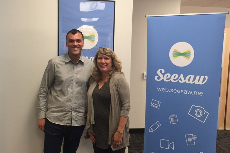 Severn School teachers with the founder of Seesaw