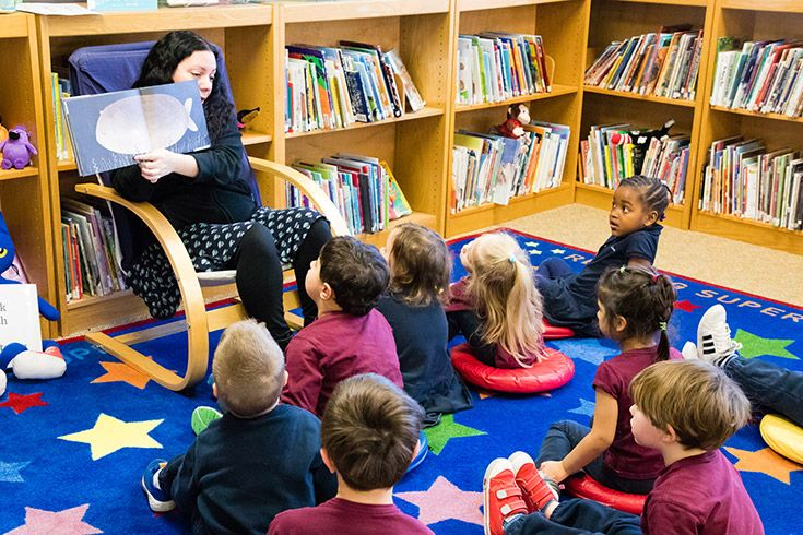 Severn School teachers reads to preschool students.