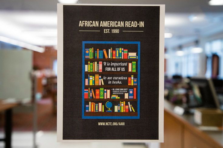Photo of African American Read-In sign at the Severn School library.