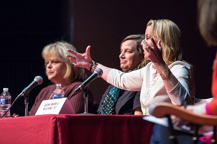 Panelist speaks on stage at Severn School