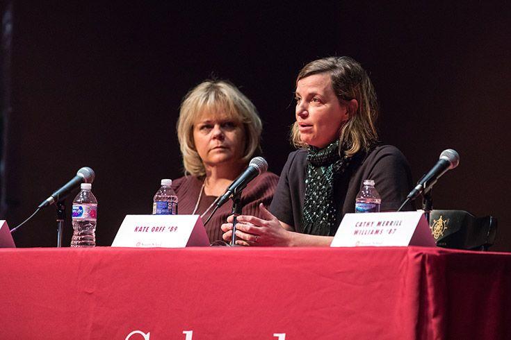 Panelist speaks on stage at Severn School.
