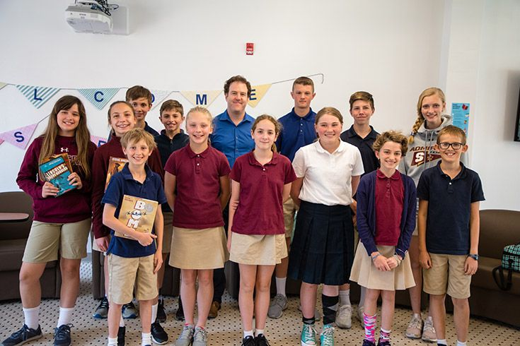Author Steve Sheinken with Severn School Middle School students