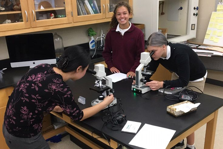 Severn School high school students learn to draw using a microscope