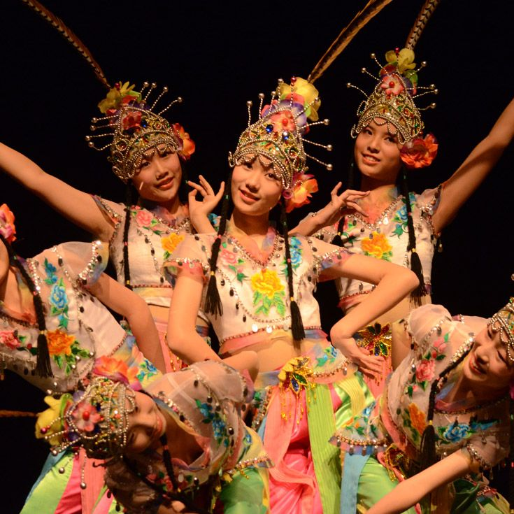 The Art Troupe of the High School Affiliated with Beijing's Renmin University (RDFZ) performing at Severn School.