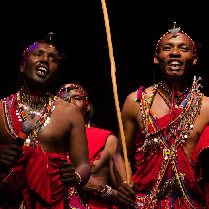 Maasai tribesmen performing at Severn School.