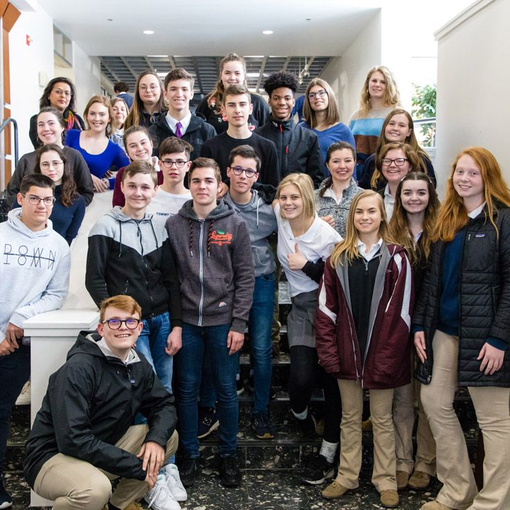 Severn School students with exchange students from Brest, France.