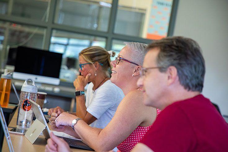 Severn School teachers talk during a professional development workshop