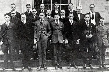 The Severn School student body and faculty in 1917. Standing in the center of the second row are Mr. Teel and the only other master, Mr. Albert Hawkins. Together they handled all teaching and administrative matters, while at the same time providing supervision, regular meals, normal hours, discipline, and a solid background for a student body that began with six but soon climbed to almost 20 boys.