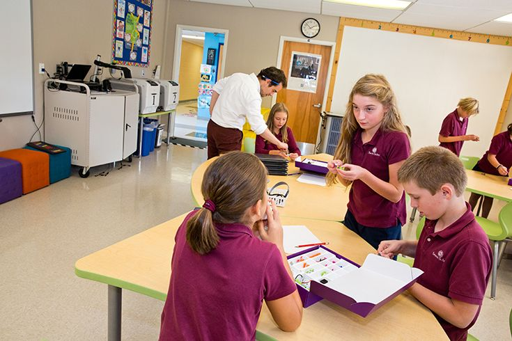 Severn fifth graders explore circuitry with LittleBits in the Maker Lab