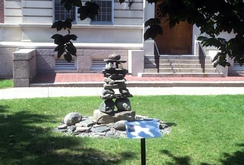 Cairn sculpture in front of Dartmouth's Office of Undergraduate Admissions