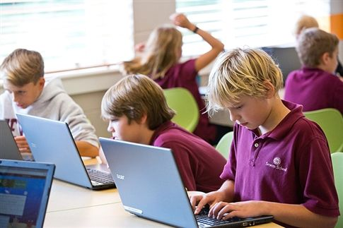 Severn Lower School students are comfortable using laptops and a variety of applications to work on projects.