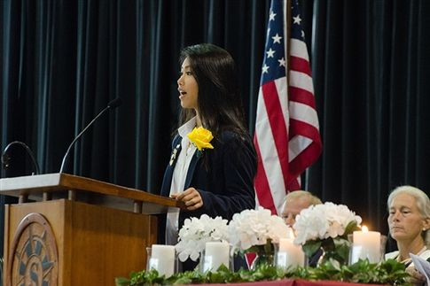 Meghan Chu '19 speaks at the ceremony.