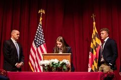 The annual signing of the Upper School Honor Code Book.
