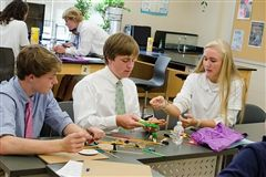 Severn Upper School students work through a design challenge.