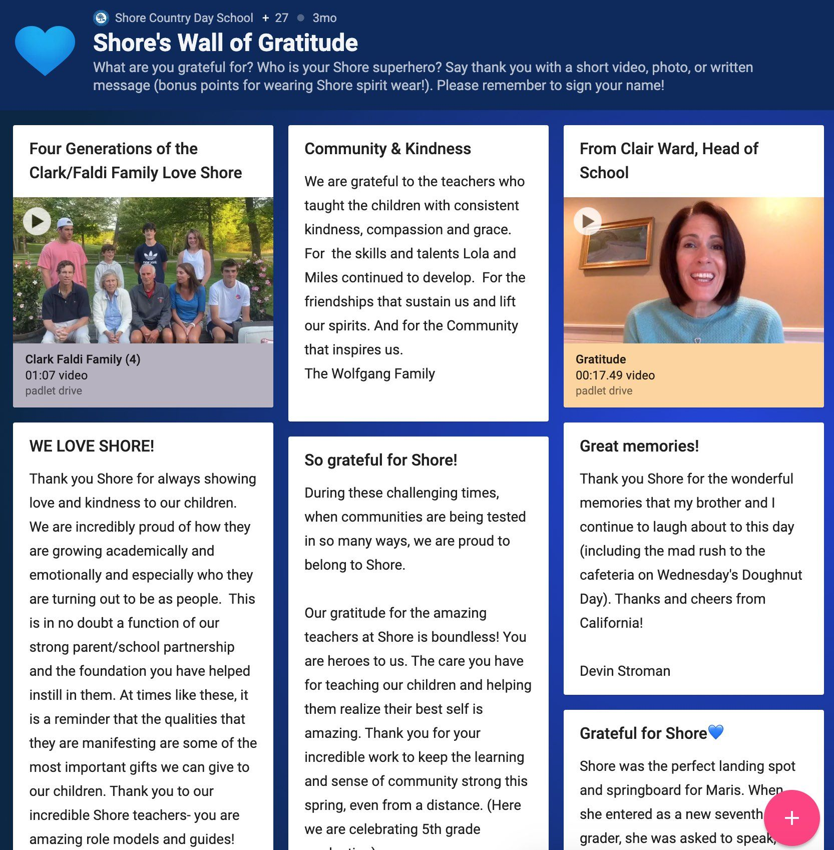 Shore's Wall of Gratitude