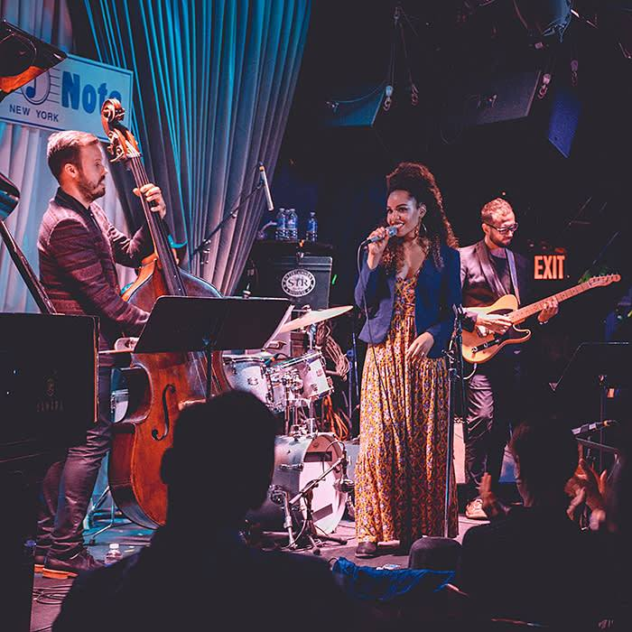 Performing at Blue Note jazz club in New York; photo: Noel Woodford