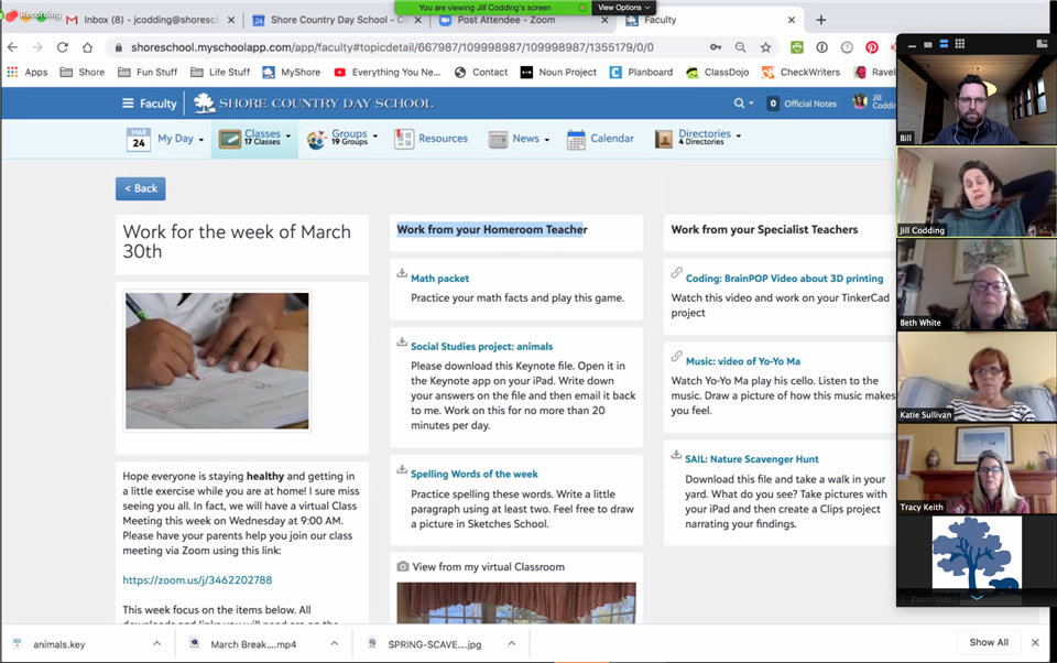 A view of a sample virtual classroom on MyShore