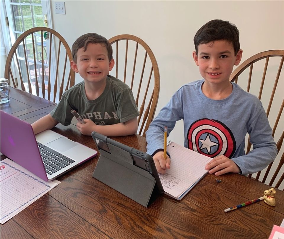 Pre-K and Grade 3 students Dylan and Jack Mulrooney were busy at work.