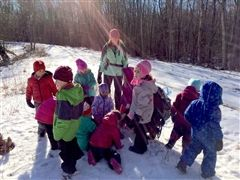 Pre-kindergartners went for a winter walk in the woods