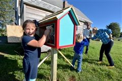 First graders built and installed a Little Free Library at Appleton Farms