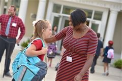 Teachers welcomed back students on the first day of school