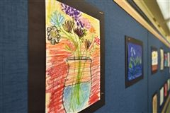 Second graders created still life studies of flowers