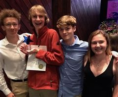 Linden Adamson with his award, along with fellow cast members Alex Schimmel, Alex Oder, and Brooke Schatz